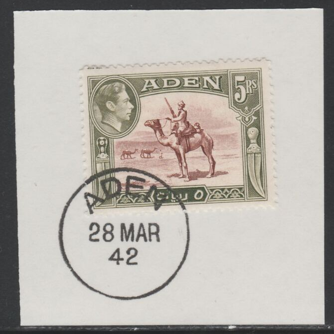Aden 1939-48 KG6 Camel Corps 5r red-brown & olive-green on piece with full strike of Madame Joseph forged postmark type 3