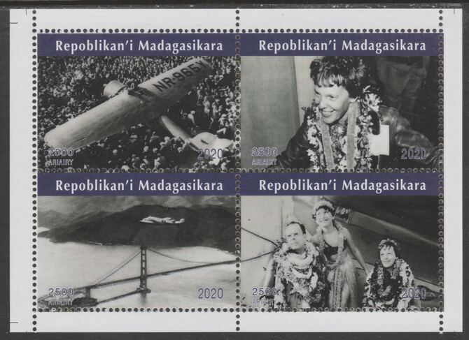 Madagascar 2020 Amelia Earhart perf sheetlet containing 4 values unmounted mint. Note this item is privately produced and is offered purely on its thematic appeal, it has no postal validity