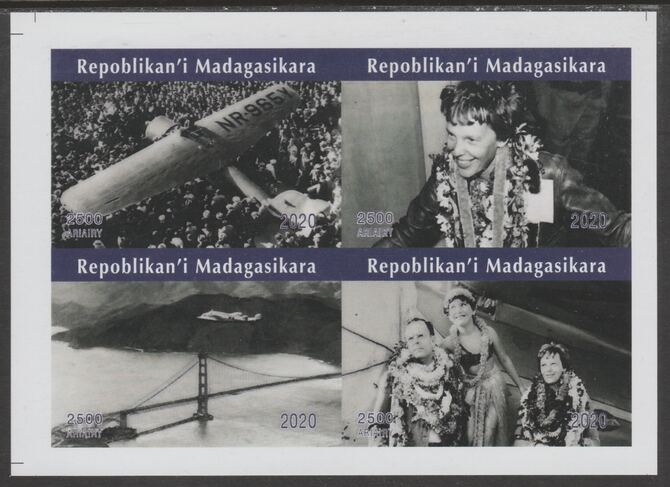 Madagascar 2020 Amelia Earhart imperf sheetlet containing 4 values unmounted mint. Note this item is privately produced and is offered purely on its thematic appeal, it has no postal validity