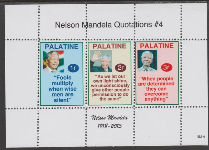 Palatine (Fantasy) Quotations by Nelson Mandela #4 perf deluxe glossy sheetlet containing 3 values each with a famous quotation,unmounted mint