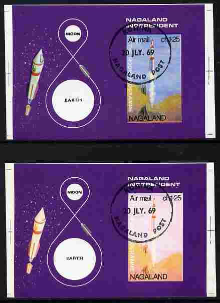 Nagaland 1969 The Moon programme 1ch25 m/sheet opt'd 'Lunar Landing Apollo 11' imperf proof with blue omitted plus normal both cto used