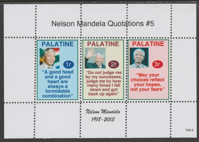 Palatine (Fantasy) Quotations by Nelson Mandela #5 perf deluxe glossy sheetlet containing 3 values each with a famous quotation,unmounted mint