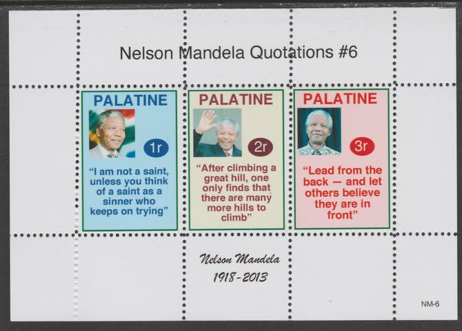 Palatine (Fantasy) Quotations by Nelson Mandela #6 perf deluxe glossy sheetlet containing 3 values each with a famous quotation,unmounted mint