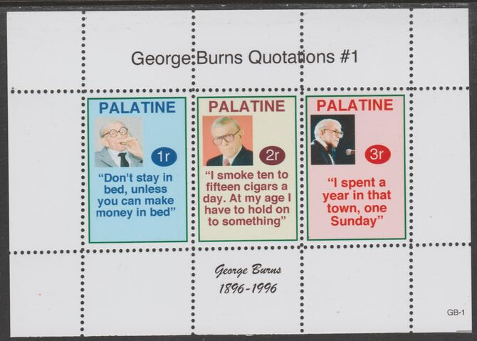 Palatine (Fantasy) Quotations by George Burns #1 perf deluxe glossy sheetlet containing 3 values each with a famous quotation,unmounted mint