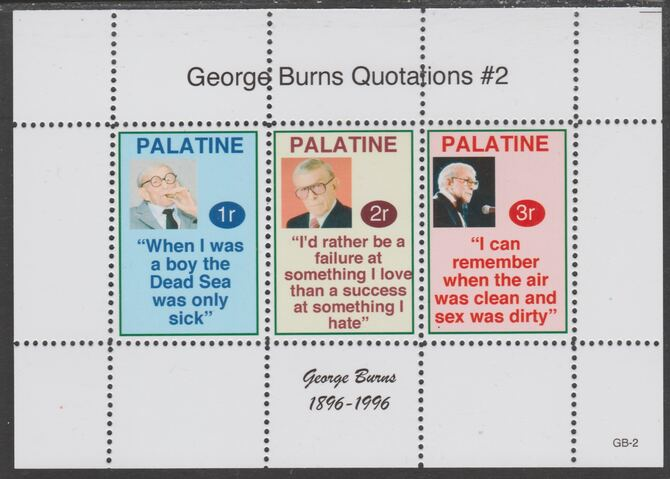 Palatine (Fantasy) Quotations by George Burns #2 perf deluxe glossy sheetlet containing 3 values each with a famous quotation,unmounted mint