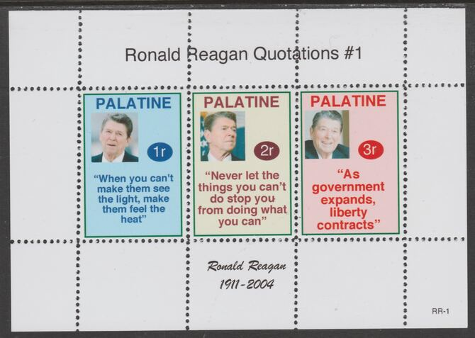 Palatine (Fantasy) Quotations by Ronald Reagan #1 perf deluxe glossy sheetlet containing 3 values each with a famous quotation,unmounted mint