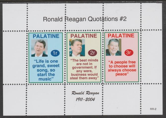 Palatine (Fantasy) Quotations by Ronald Reagan #2 perf deluxe glossy sheetlet containing 3 values each with a famous quotation,unmounted mint