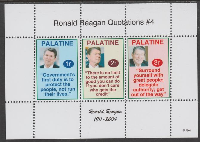 Palatine (Fantasy) Quotations by Ronald Reagan #4 perf deluxe glossy sheetlet containing 3 values each with a famous quotation,unmounted mint