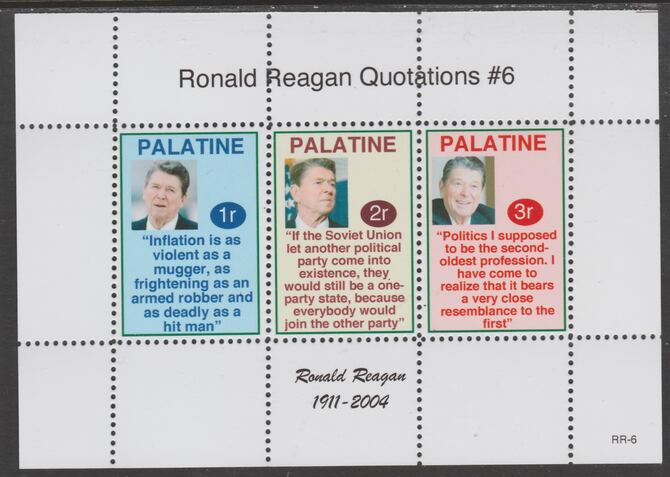 Palatine (Fantasy) Quotations by Ronald Reagan #6 perf deluxe glossy sheetlet containing 3 values each with a famous quotation,unmounted mint