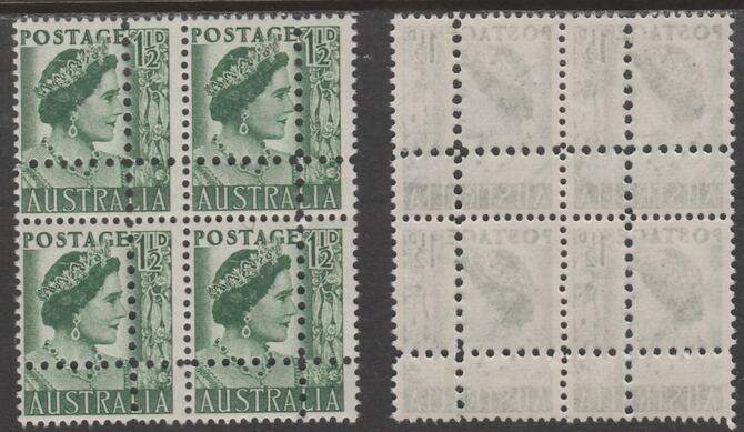 Australia 1949 Queen Elizabeth 1.5d green block of 4 with perforations doubled (stamps are quartered), unmounted mint as SG 1893Avar. Note: the stamps are genuine but the additional perfs are a slightly different gauge identifying it to be a forgery.