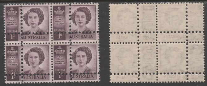 Australia 1947 Princess Elizabeth 1d purple block of 4 with perforations doubled (stamps are quartered), unmounted mint as SG 222var. Note: the stamps are genuine but the additional perfs are a slightly different gauge identifying it to be a forgery.