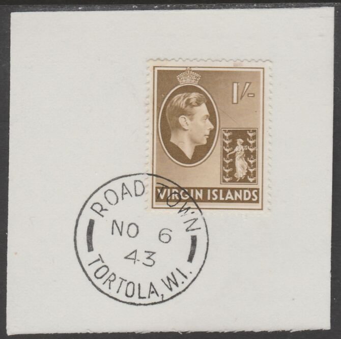 British Virgin islands 1938-47 KG6 Badge of Colony 1s olive-brown on piece with full strike of Madame Joseph forged postmark type 434