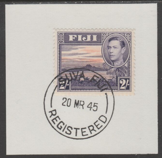 Fiji 1938-55 KG6 Pictorial 2s violet & orange on piece with full strike of Madame Joseph forged postmark type 167
