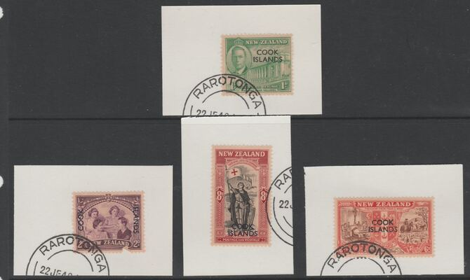 Cook Islands 1946 KG6 Peace set of 4 each on individual piece cancelled with part strike of Madame Joseph forged postmark type 127