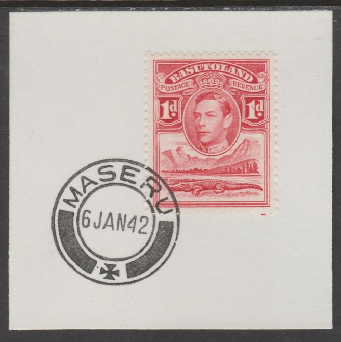 Basutoland 1938 KG6 Nile Crocodile 1d on piece cancelled with full strike of Madame Joseph forged postmark type 53