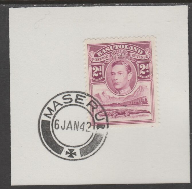 Basutoland 1938 KG6 Nile Crocodile 2d on piece cancelled with full strike of Madame Joseph forged postmark type 53