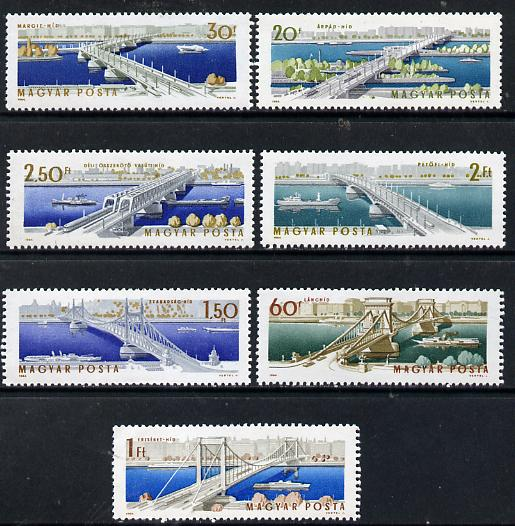 Hungary 1964 Elizabeth Bridge perf set of 7 unmounted mint, Mi 2071-77