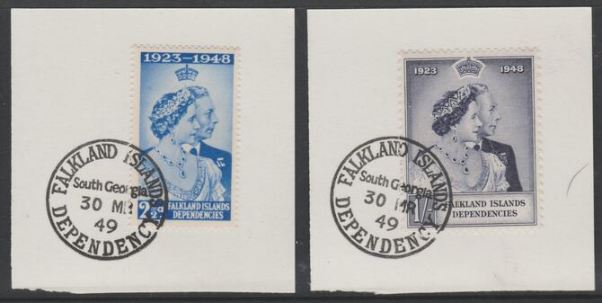 Falkland Islands Dependencies 1948 KG6 Royal Silver Wedding set of 2 each on individual piece cancelled with full strike of Madame Joseph forged postmark type 158