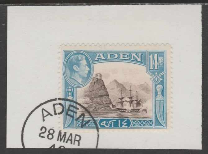 Aden 1939-48 KG6 Capture of Aden 14a sepia & light blue on piece with part strike of Madame Joseph forged postmark type 3, stamps on , stamps on  kg6 , stamps on ships