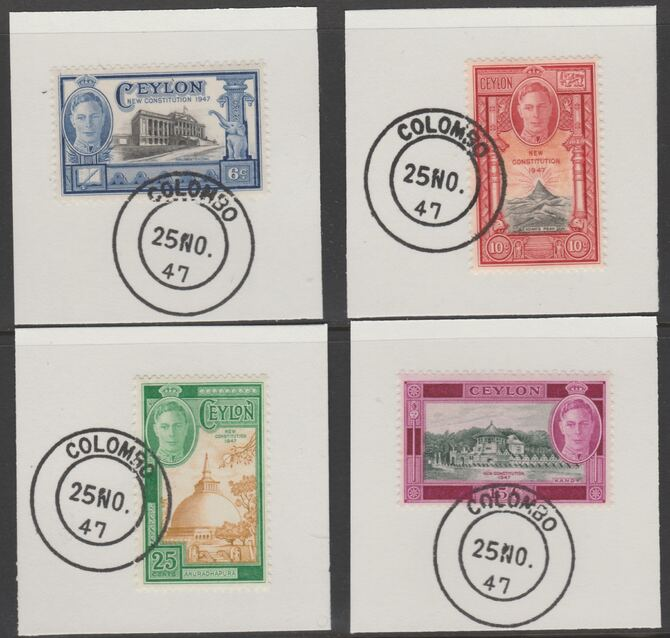 Ceylon 1947 Inauguration set of 4 each on individual piece cancelled with full strike of Madame Joseph forged postmark type 122