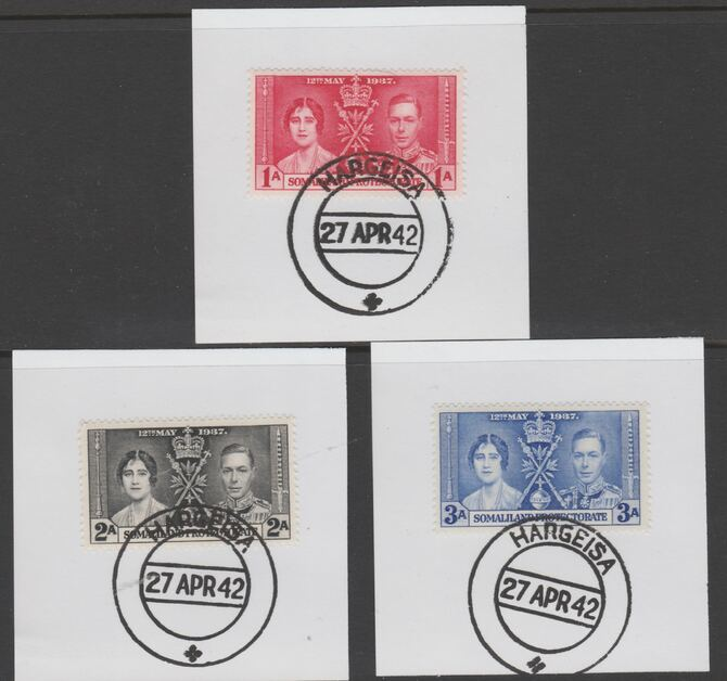 Somaliland 1937 KG6 Coronation set of 3 each on individual piece cancelled with full strike of Madame Joseph forged postmark type 103