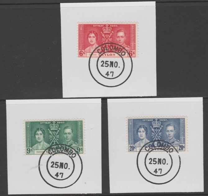 Ceylon 1937 KG6 Coronation set of 3 each on individual piece cancelled with full strike of Madame Joseph forged postmark type 122