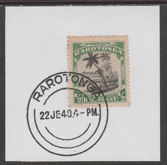 Cook Islands 1920 Rarotonga 1/2d Cook Landing on piece cancelled with full strike of Madame Joseph forged postmark type 127
