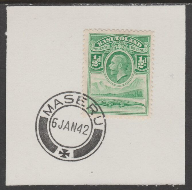 Basutoland 1933 KG5 Nile Crocodile 1/2d on piece cancelled with full strike of Madame Joseph forged postmark type 53