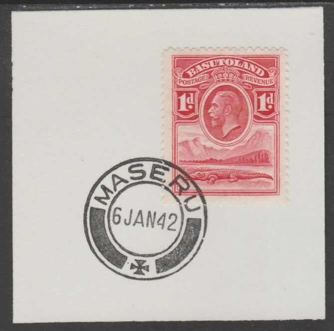Basutoland 1933 KG5 Nile Crocodile 1d on piece cancelled with full strike of Madame Joseph forged postmark type 53