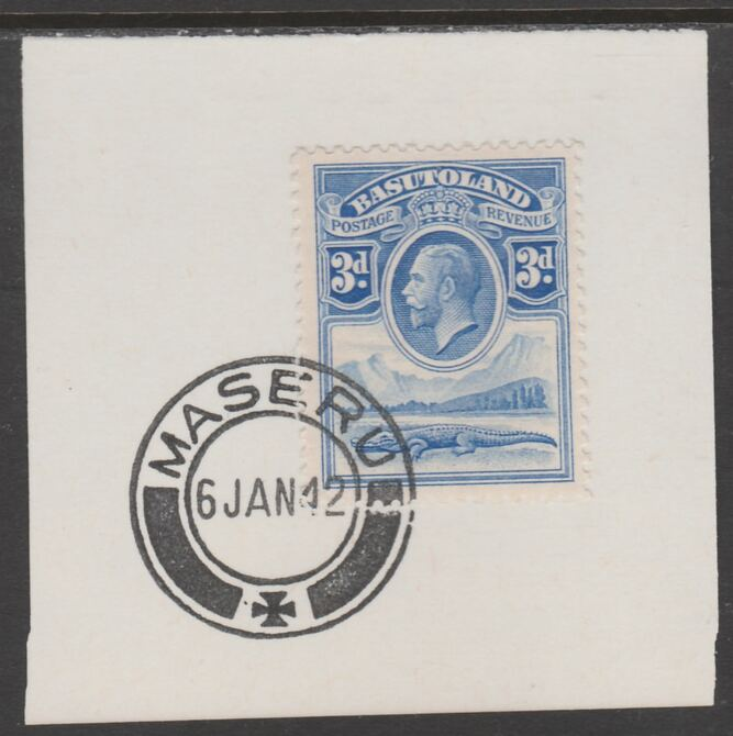 Basutoland 1933 KG5 Nile Crocodile 3d on piece cancelled with full strike of Madame Joseph forged postmark type 53