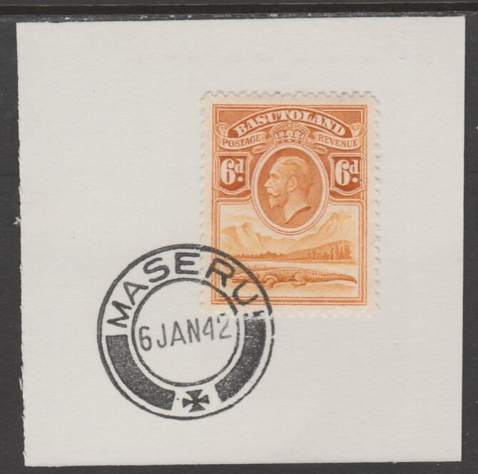 Basutoland 1933 KG5 Nile Crocodile 6d on piece cancelled with full strike of Madame Joseph forged postmark type 53
