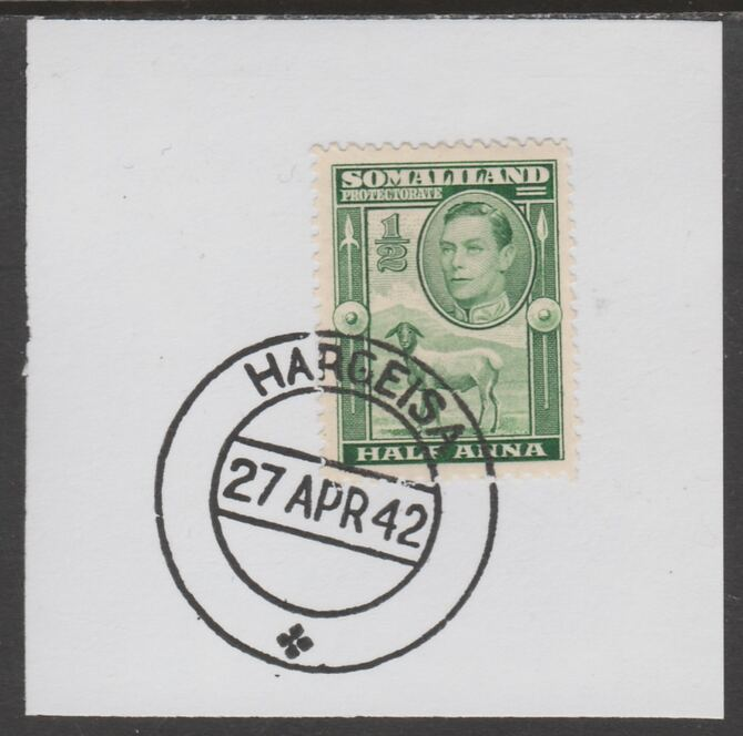 Somaliland 1938 KG6 Side Face 1/2a on piece cancelled with full strike of Madame Joseph forged postmark type 103, stamps on , stamps on  kg6 , stamps on forgeries, stamps on sheep, stamps on ovine