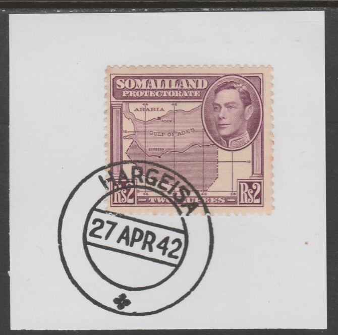 Somaliland 1938 KG6 Side Face 2r on piece cancelled with full strike of Madame Joseph forged postmark type 103
