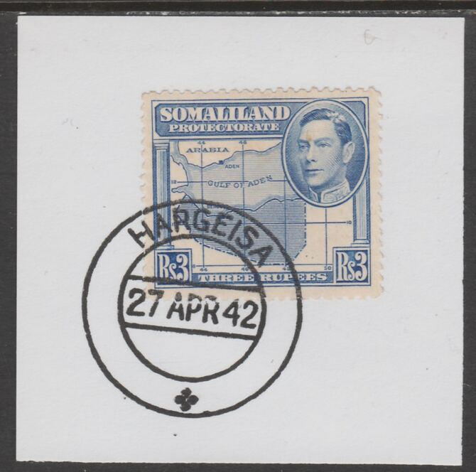Somaliland 1938 KG6 Side Face 3r on piece cancelled with full strike of Madame Joseph forged postmark type 103
