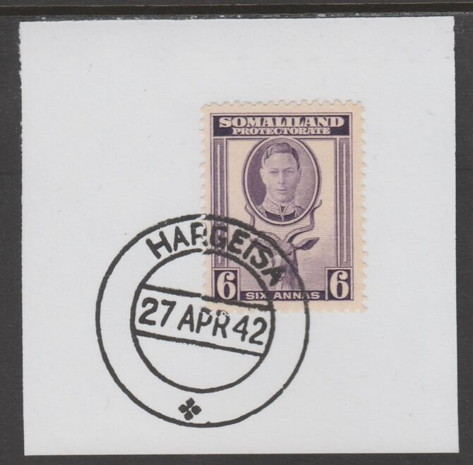 Somaliland 1942 KG6 Full Face 6a on piece cancelled with full strike of Madame Joseph forged postmark type 103