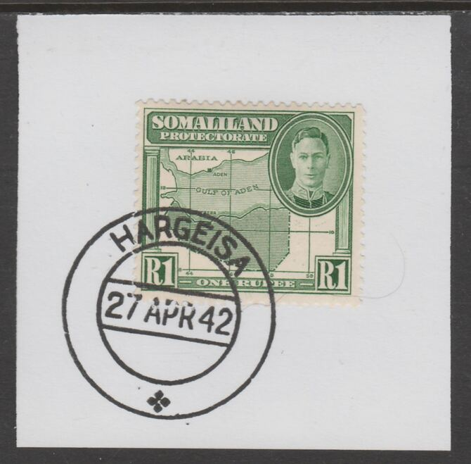 Somaliland 1942 KG6 Full Face 1r on piece cancelled with full strike of Madame Joseph forged postmark type 103