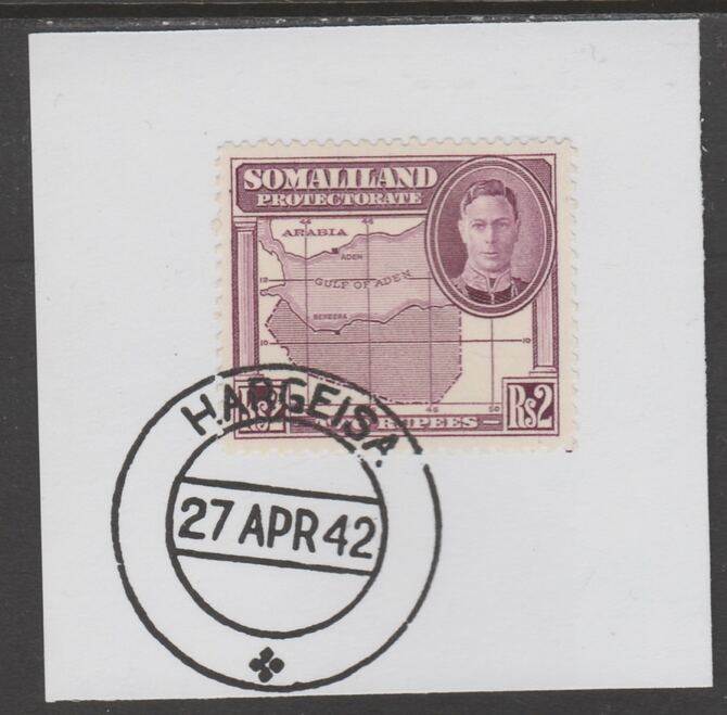 Somaliland 1942 KG6 Full Face 2r on piece cancelled with full strike of Madame Joseph forged postmark type 103, stamps on , stamps on  kg6 , stamps on forgeries, stamps on maps