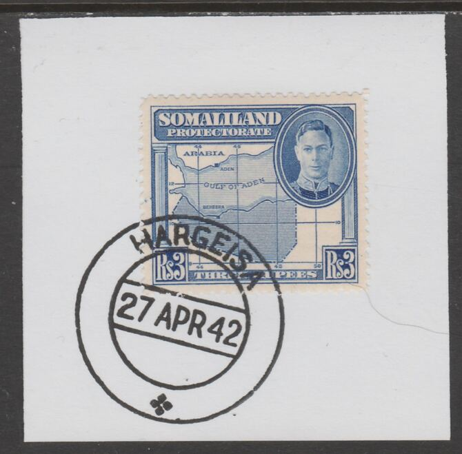 Somaliland 1942 KG6 Full Face 3r on piece cancelled with full strike of Madame Joseph forged postmark type 103
