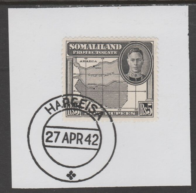 Somaliland 1942 KG6 Full Face 5r on piece cancelled with full strike of Madame Joseph forged postmark type 103