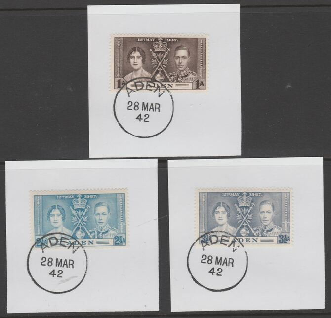 Aden 1937 KG6 Coronation set of 3 each on individual piece cancelled with full strike of Madame Joseph forged postmark type 3