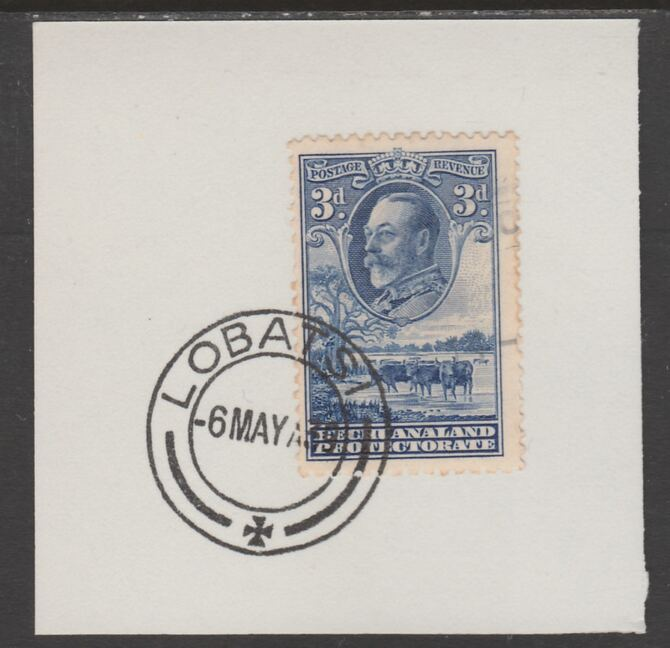 Bechuanaland 1932 KG5 Cattle 3d on piece cancelled with full strike of Madame Joseph forged postmark type 57