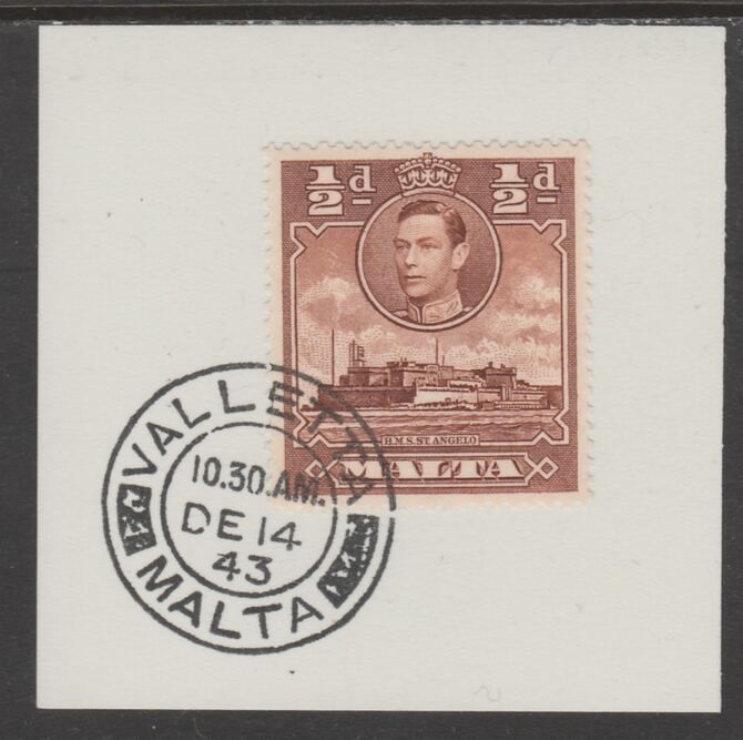 Malta 1938 KG6 HMS St Angelo 1/2d red-brown on piece cancelled with full strike of Madame Joseph forged postmark type 250