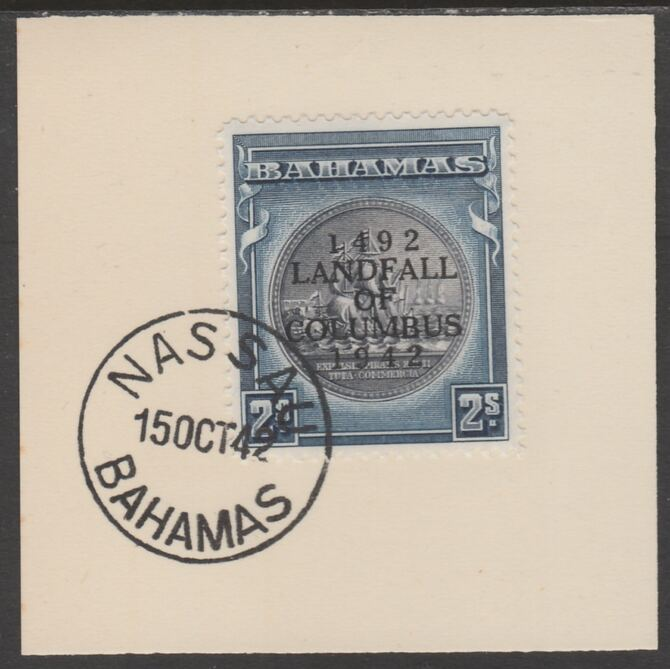 Bahamas 1942 KG6 Landfall of Columbus 2s on individual piece cancelled with full strike of Madame Joseph forged postmark type 37
