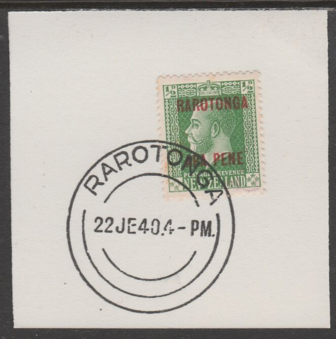 Cook Islands 1919  NZ KG5 1/2d opt'd Rarotonga on piece cancelled with full strike of Madame Joseph forged postmark type 127, stamps on , stamps on  stamps on , stamps on  stamps on  kg5 , stamps on  stamps on forgeries