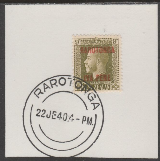 Cook Islands 1919  NZ KG5 9d opt'd Rarotonga on piece cancelled with full strike of Madame Joseph forged postmark type 127, stamps on , stamps on  kg5 , stamps on forgeries