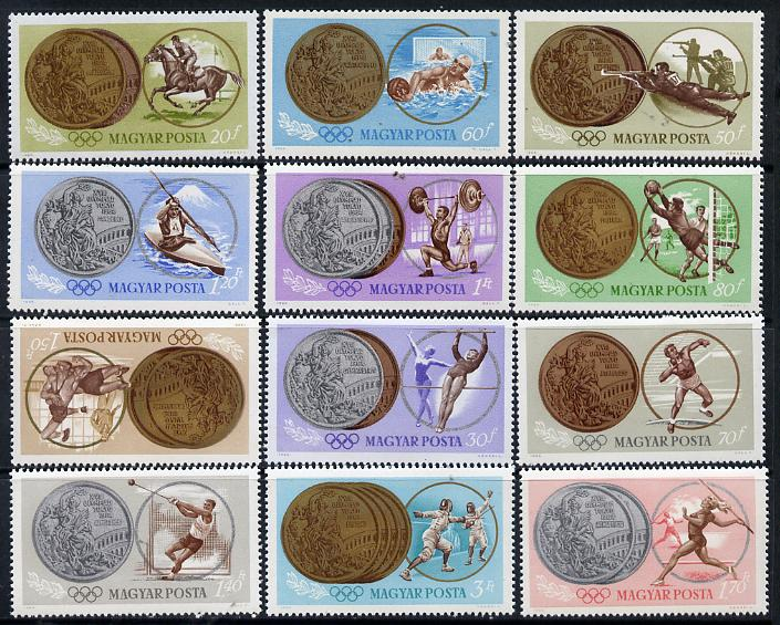 Hungary 1965 Tokyo Olympic Games perf set of 12 unmounted mint, SG 2044-55, Mi 2089-2100