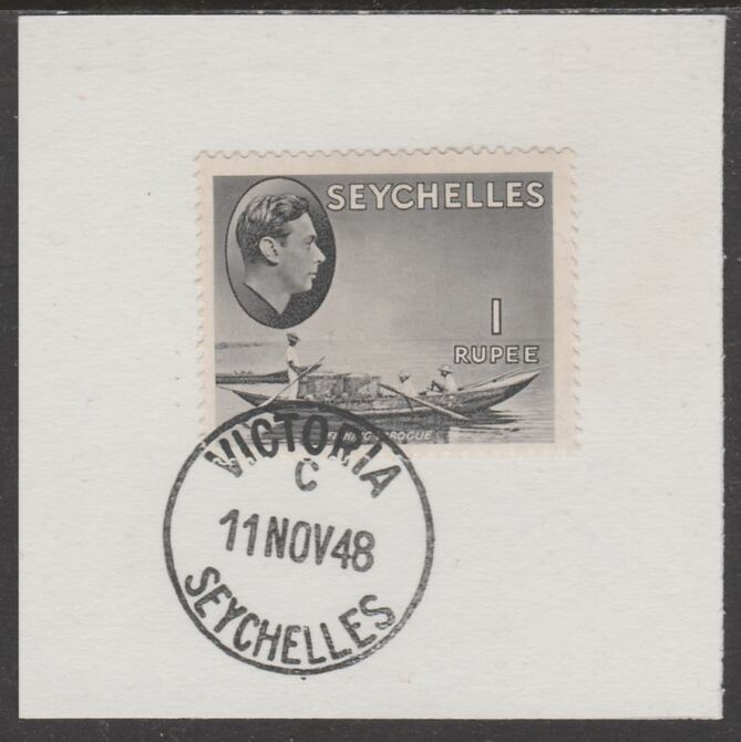 Seychelles 1938 KG6 1r grey-black on piece cancelled with full strike of Madame Joseph forged postmark type 389, stamps on , stamps on  stamps on , stamps on  stamps on  kg6 , stamps on  stamps on forgeries, stamps on  stamps on