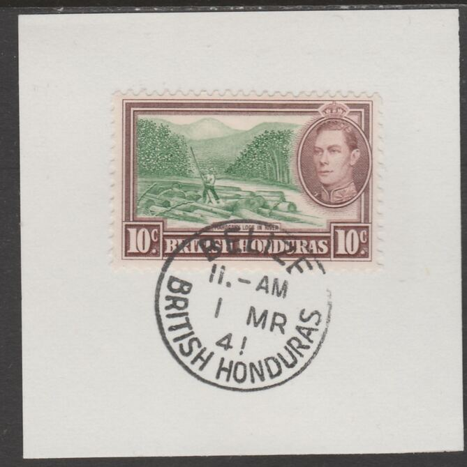 British Honduras 1938 KG6 10c pictorial def on piece cancelled with full strike of Madame Joseph forged postmark type 71, stamps on , stamps on  stamps on , stamps on  stamps on  kg6 , stamps on  stamps on forgeries
