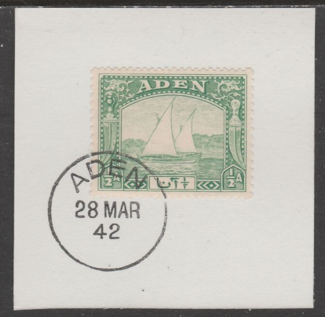 Aden 1937 Dhow 1/2a yellow-green on piece with full strike of Madame Joseph forged postmark type 3, stamps on , stamps on  kg6 , stamps on forgeries, stamps on ships