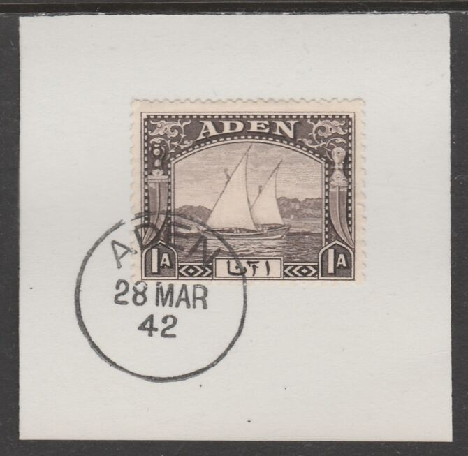Aden 1937 Dhow 1a sepia on piece with full strike of Madame Joseph forged postmark type 3, stamps on , stamps on  kg6 , stamps on forgeries, stamps on ships